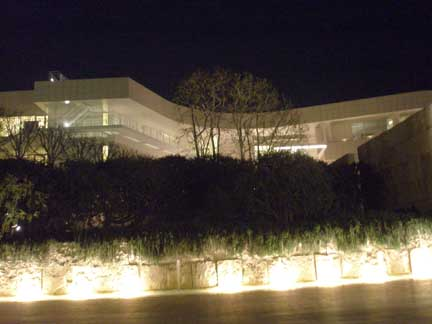 Getty Museum at night, Los Angeles, CA