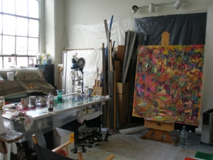 kathryn arnold, studio view with painting in process