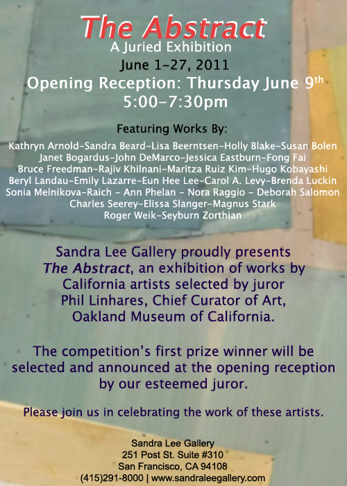 "Invitation for group exhibition ""The Abstract"" Sandra Lee Gallery, June 2- 27, 2011"