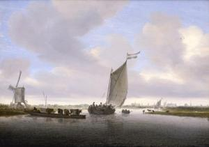 River Landscape with a Sailboat by Saloman van Ruysdael