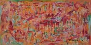 """a distant time, kathryn arnold, oil on canvas paper, 36"""" x 18.5"""""""