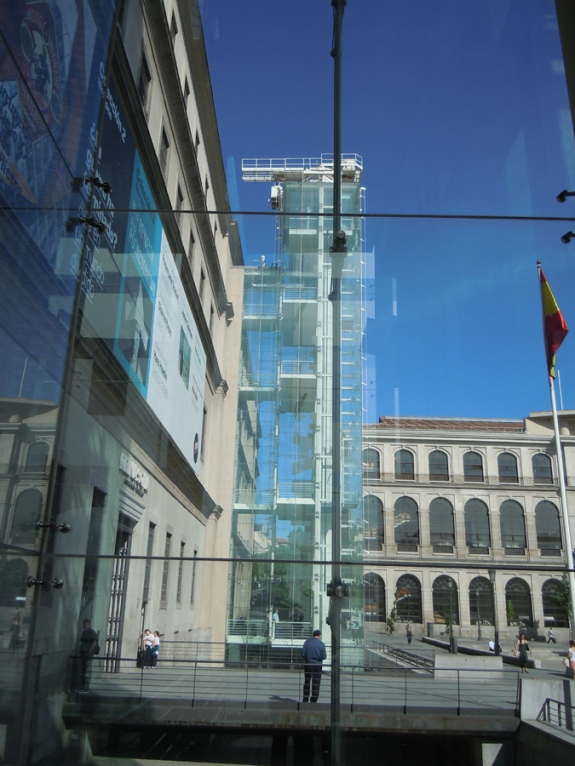Glass Elevator Towers at Reina Sofia, Madrid