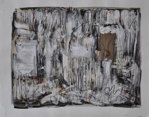 "Day at Studio #3, by Kathryn Arnold, 30""h x 38""w, mixed media on paper, framed in natural maple"