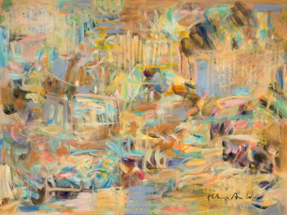 """Partial Avoidance by Kathryn Arnold 40"""" w  x 30"""" h oil on canvas"""