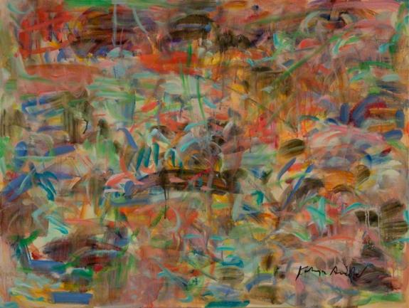 """Random Interlocking Meaning by Kathryn Arnold 40"""" w  x 30"""" h oil on ca"""