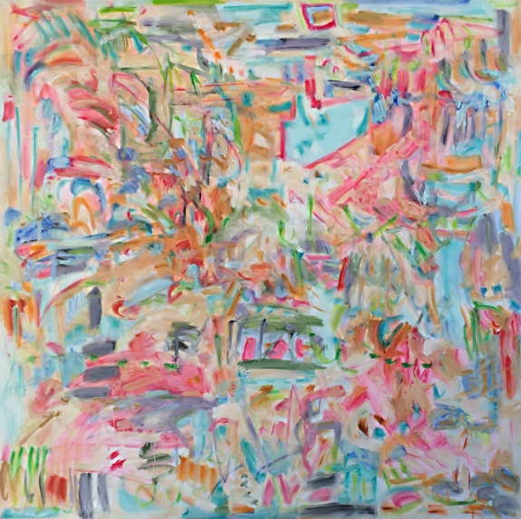 New work by kathryn arnold based upon a Cortazar poem, size 6' x 6', oil on canvas