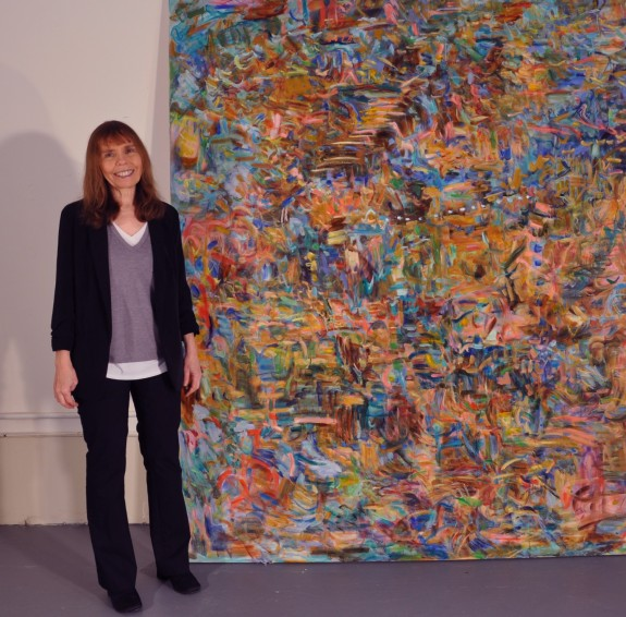 This is me, kathryn arnold, with String of Pearls, an artwork which will be in my upcoming museum exhibition.