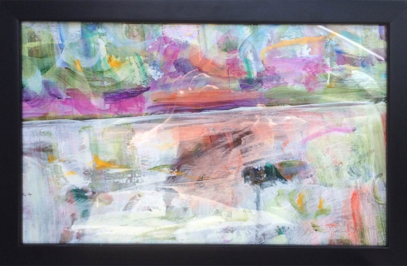 """Inward"" by Kathryn Arnold, acrylic on paper, framed under glass with black frame"