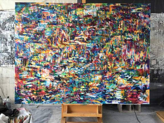 so far not titled by kathryn arnold, about 5.5 x 7 ft, oil on canvas