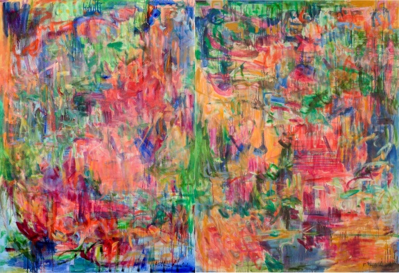Imagine 1 and 2 as diptych, 96 x 66 inches, by Kathryn Arnold
