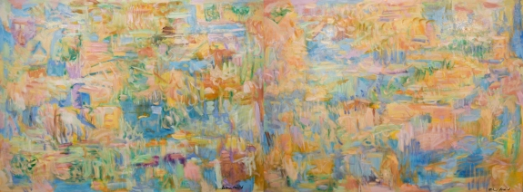 """Kathryn Arnold, the Sight of Sandhill Cranes, Oil on Canvas, Diptych, 48"""" x 120"""""""