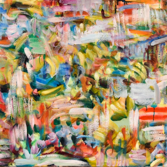 "Detail of ""Equation = Sequence"" , 24"" x 72"", oil on canvas by Kathryn Arnold"